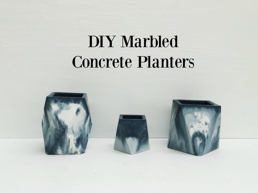 DIY Marbled Concrete Planters