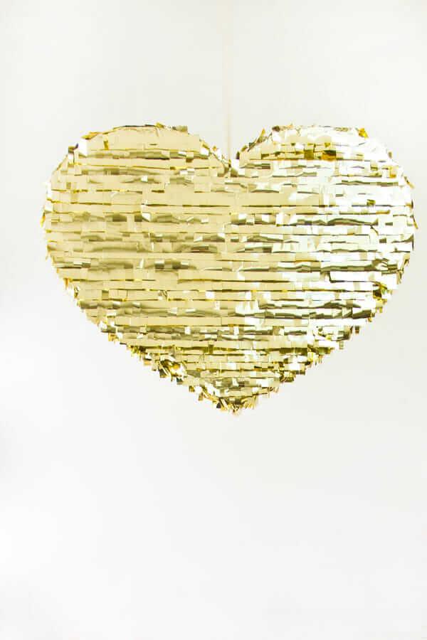 DIY Gold Heart Piñata