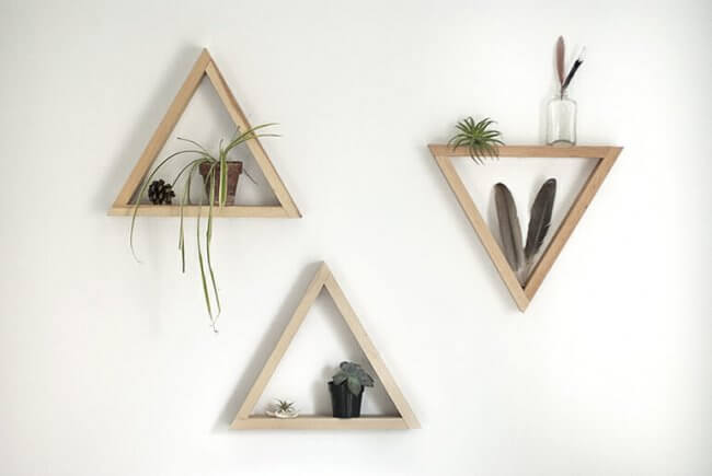 Diy Wooden Triangle Shelves