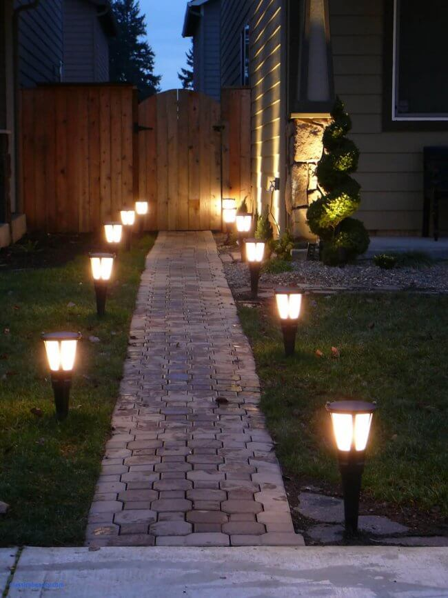 Solar Glowing Lanterns by the Path