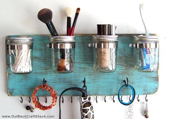 Bathroom mason jar organizer
