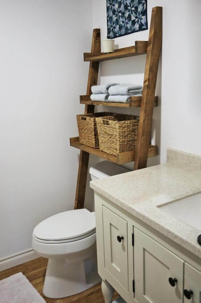 Over the Toilet Storage - Leaning Bathroom Ladder