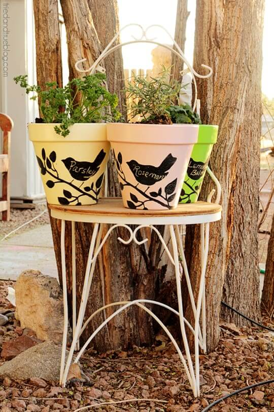 Chalkboard Planters With Folkart Stencils And Pain