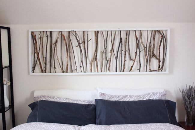 DIY Branch Art Headboard