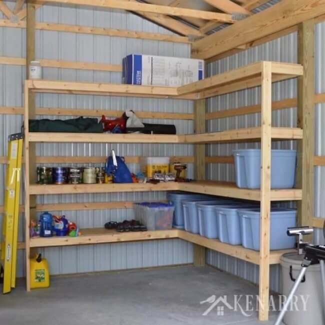 DIY Corner Shelves for Garage