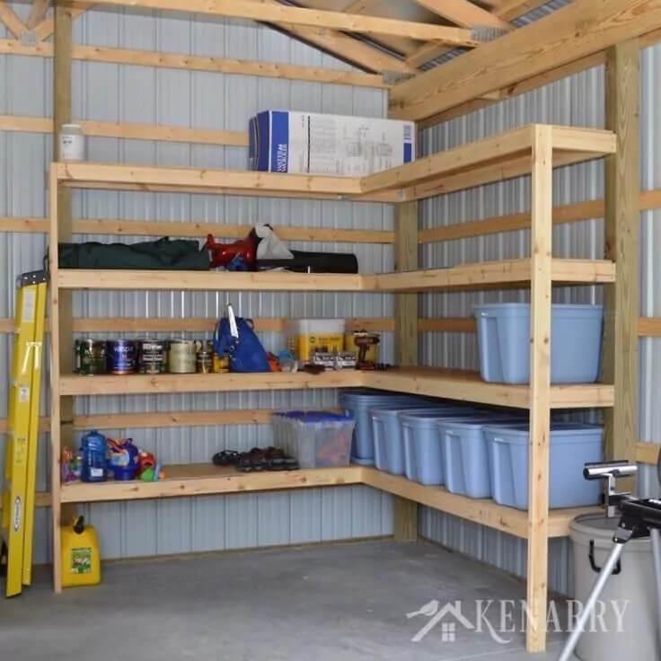 12 Smart Garage Organization Ideas - DIY Corner Shelves for Garage
