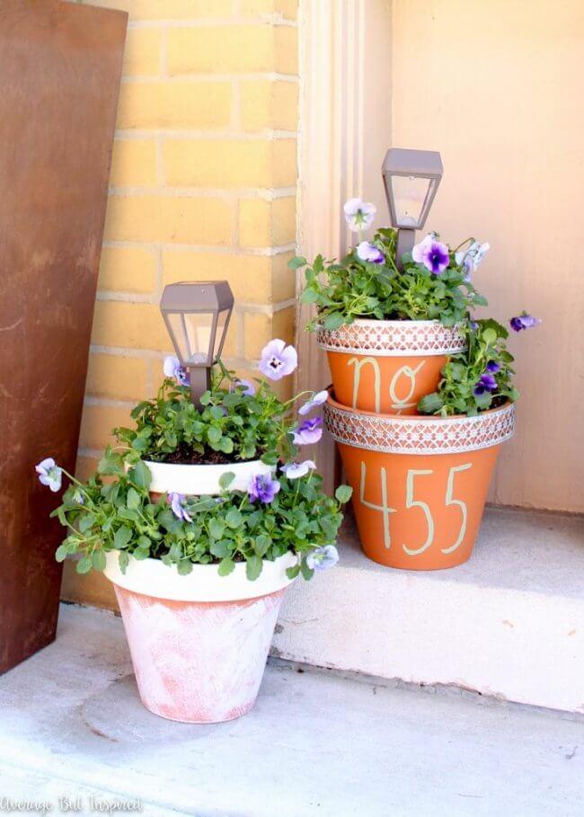 DIY Solar Light Planters