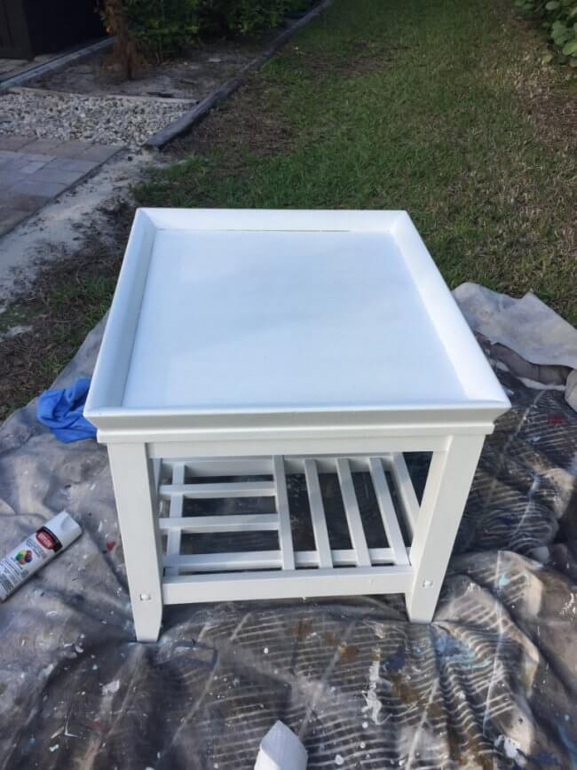 End Table Coastal Makeover - End Table After Painting it White