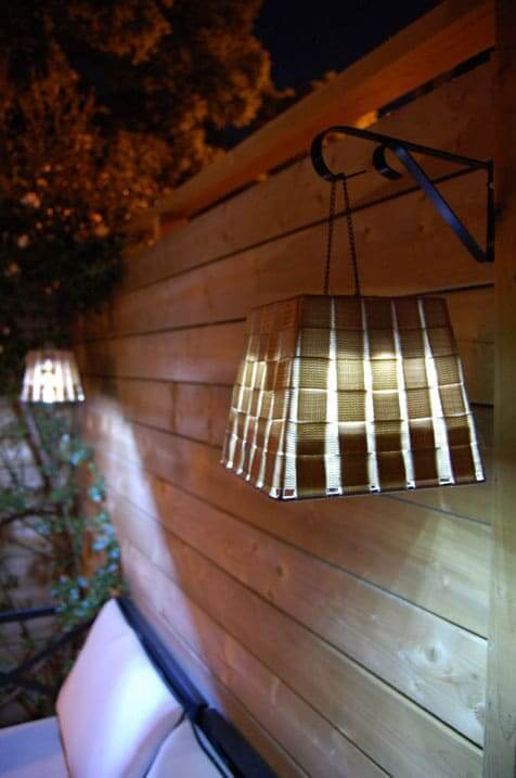 Fancy basket lamps on brackets
