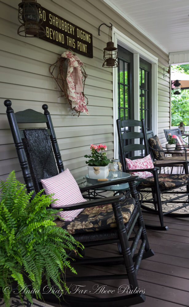 Southern porch with vintage farmhouse style