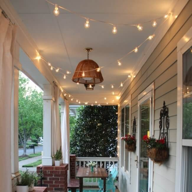 7 DIY Porch Decor Ideas That You Are Guaranteed To Love - Hang String Lights