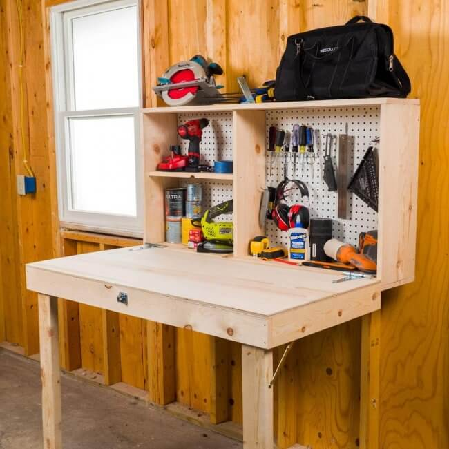 12 Smart Garage Organization Ideas - How To Build a Fold-Up Workbench