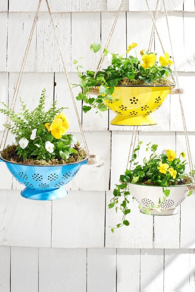 7 DIY Porch Decor Ideas That You Are Guaranteed To Love - How to Convert a Colander Into a Planter