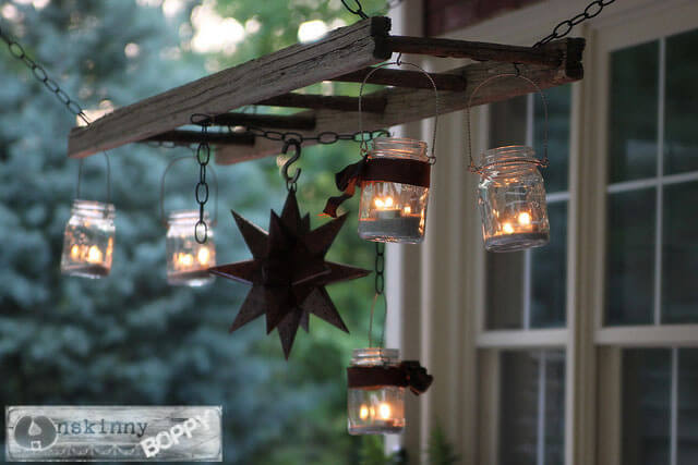 Pottery Barn inspired ladder lantern porch chandelier