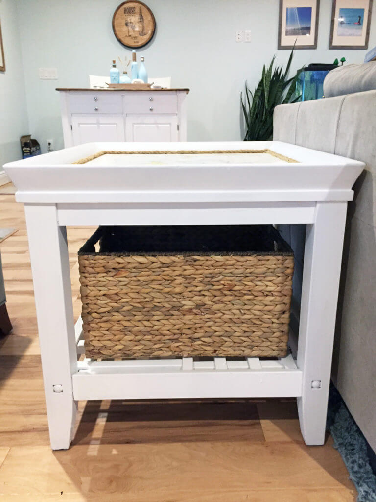 End Table Coastal Makeover - Side View Side Table