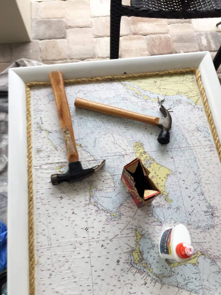 End Table Coastal Makeover - Sidetable Tools Used
