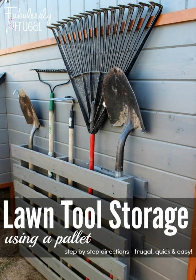 12 Smart Garage Organization Ideas - Store Lawn Tools With a Pallet