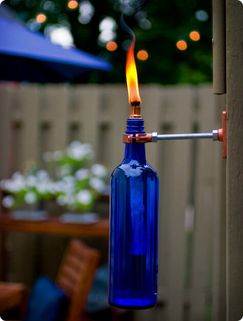 DIY Garden Path Light Using Glass Bottles