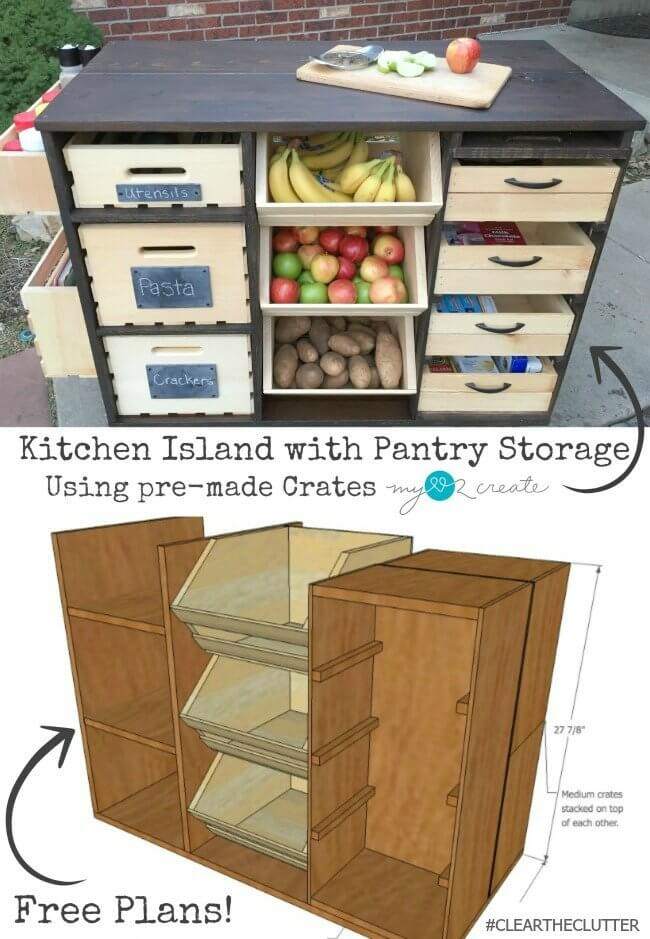 Kitchen Island with Pantry Storage