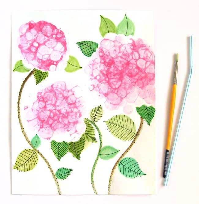 Make Bubble Paint Flower Hydrangeas