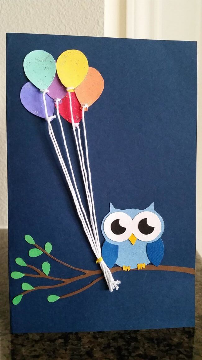Cute Owl with Balloons Birthday Card