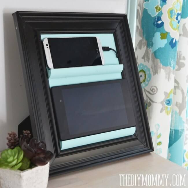 Make a Counter Top Phone Charging Station & Tablet Holder from a Picture Frame