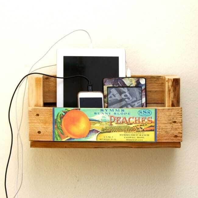Tangled? Make a Pallet Shelf Charging Station!
