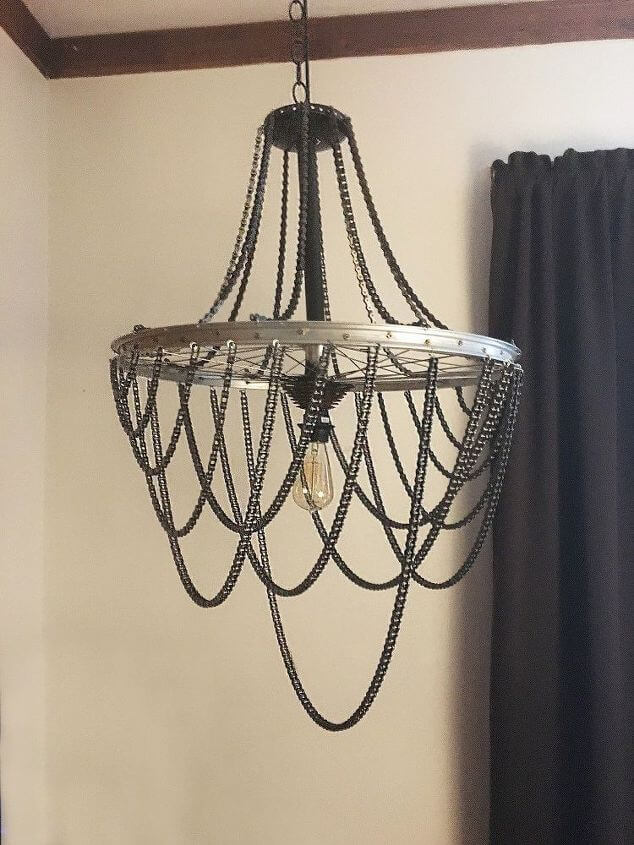 Bicycle Wheel and Chain Chandelier