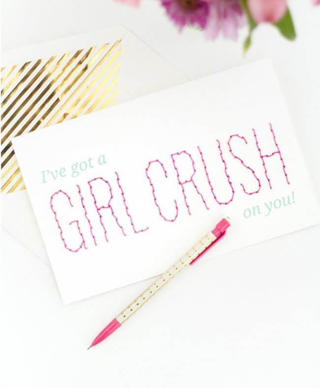DIY Printable 'Girl Crush' Stitched Valentine's Day Card