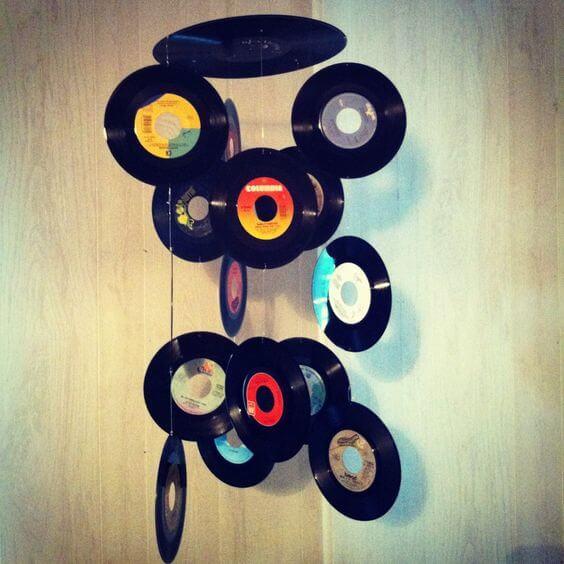 DIY record chandelier