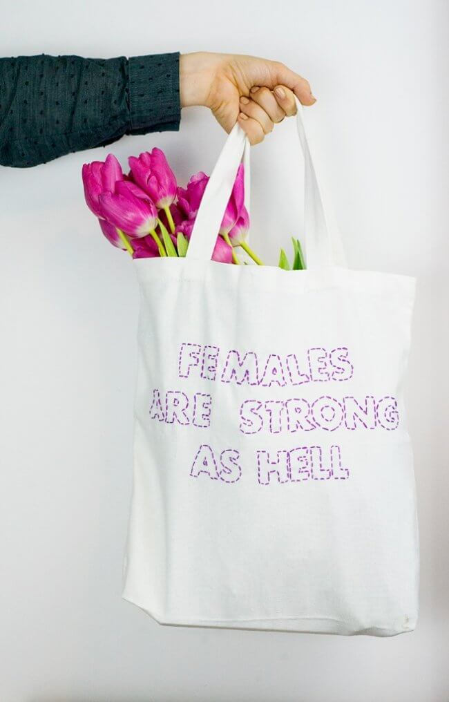 Diy Stitched Text Tote Bag