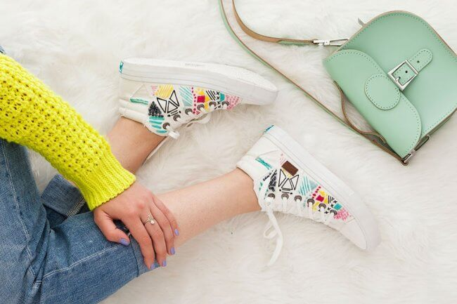 Embroider White Canvas Sneakers for Spring