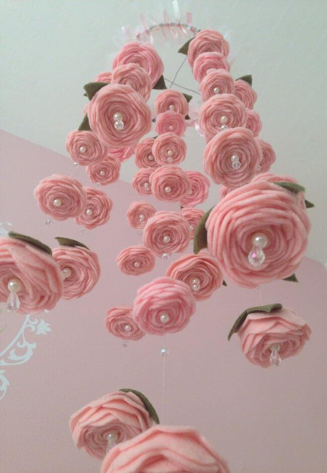 Felt Rose Baby Mobile