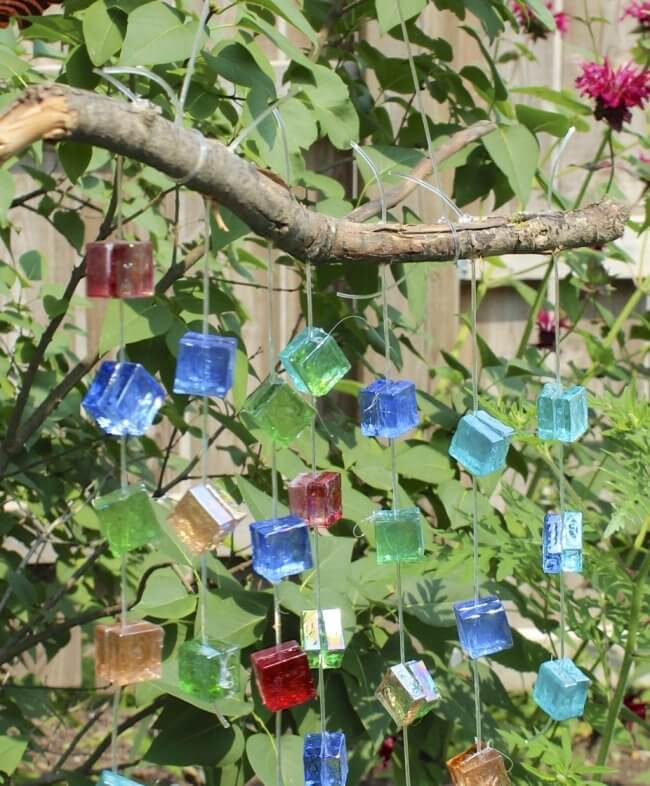 Glass Mosaic Wind Chime Garden Decor
