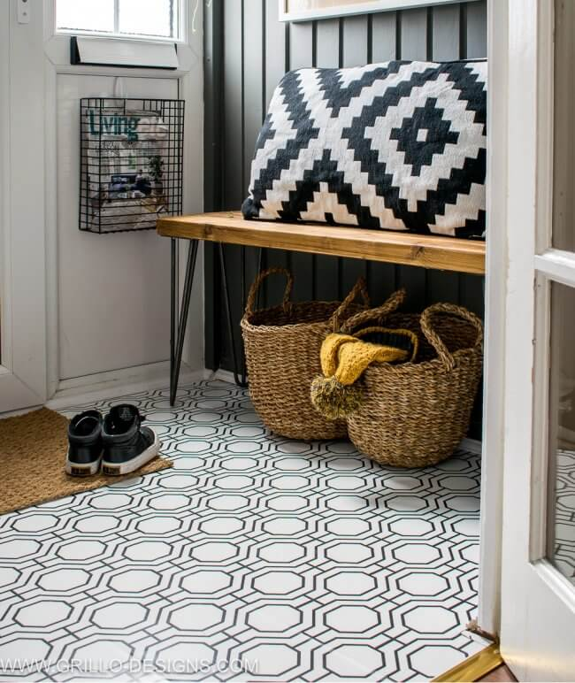 How To Wallpaper A Floor – A Renter-Friendly Alternative!