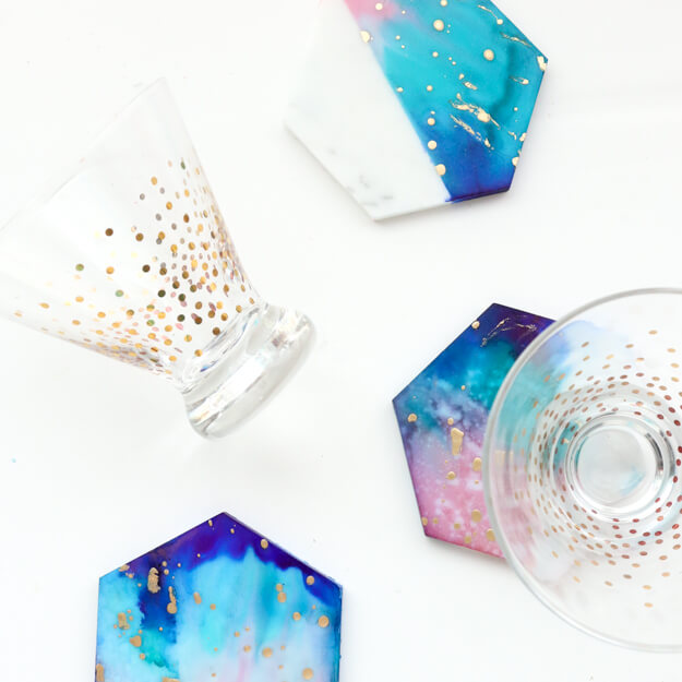 Make It – Galaxy Color Blocked Marble Coasters
