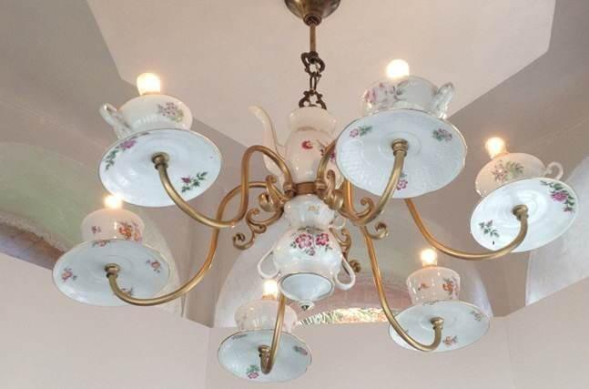 Old  Porcelain Teacups Chandelier
