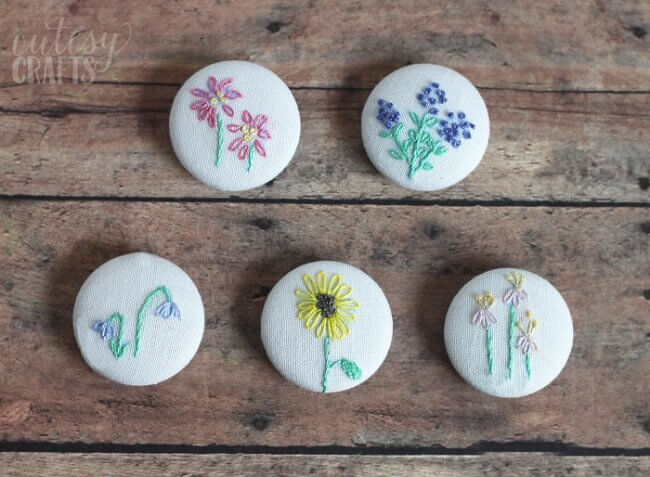 Pretty Floral Diy Magnets With Hand Embroidery