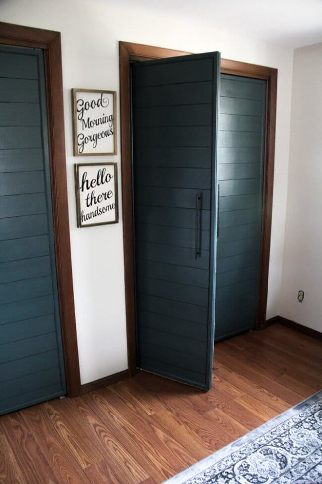 Bi-fold To Faux Shiplap French Closet Doors