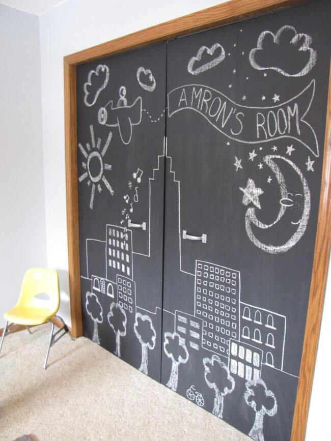 DIY Chalkboard Closet Doors