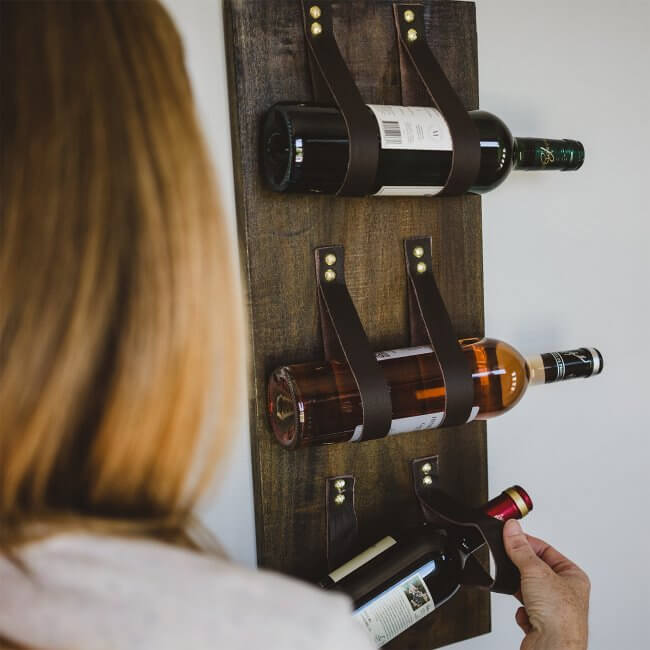 DIY Wood & Leather Wine Bottle Holder