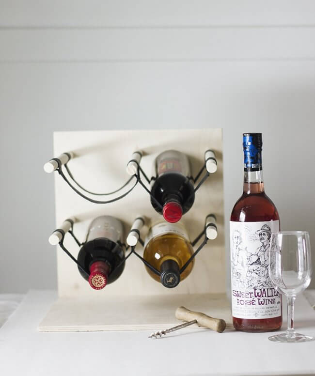 Diy Wood & Leather Wine Rack