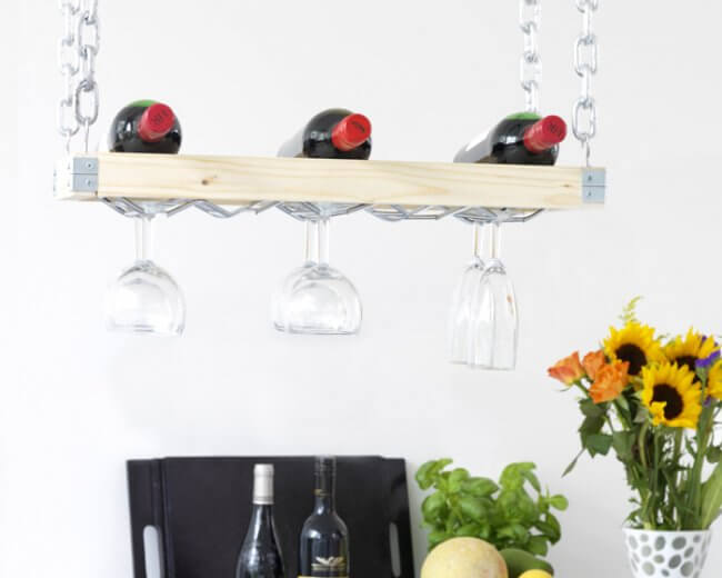 Stylish Hanging Wine Rack