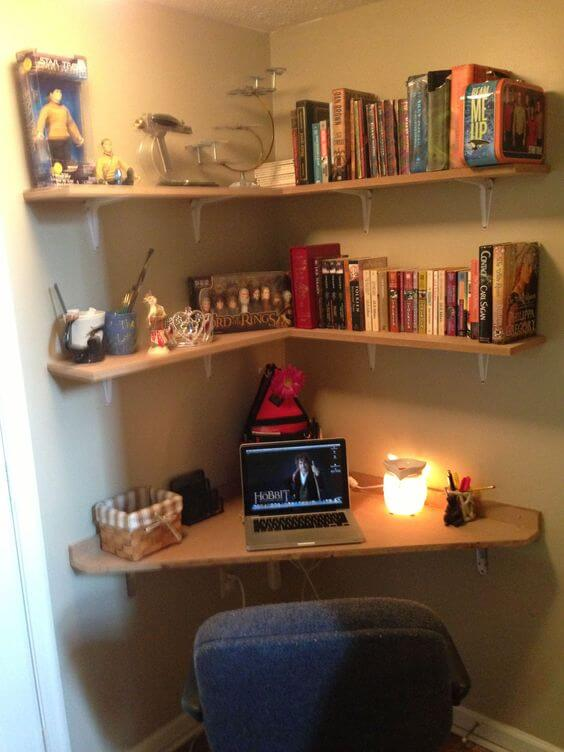 Simple desk with shelving