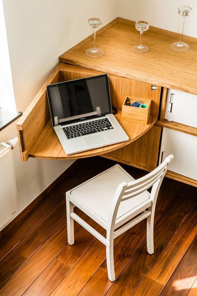 Slotted Corner Computer Desk