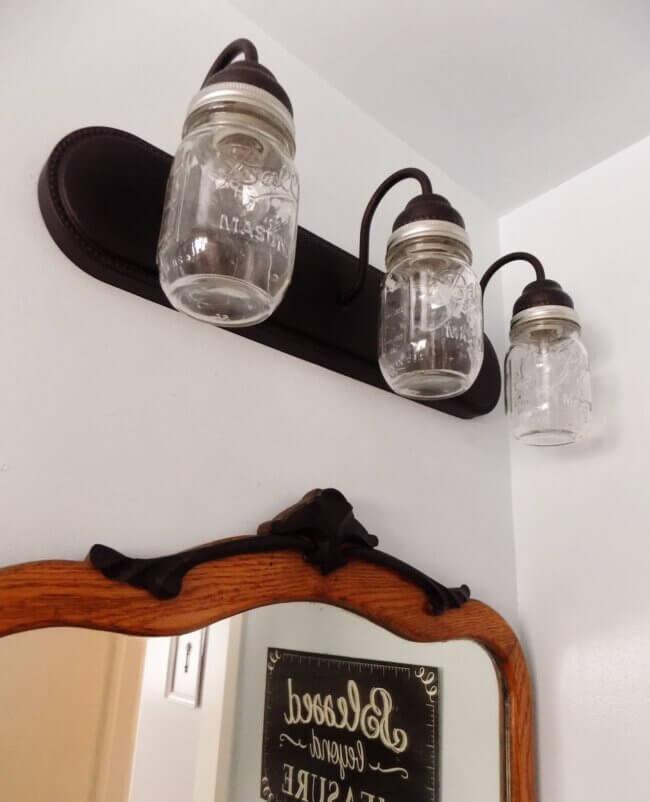 DIY Farmhouse Bathroom Light
