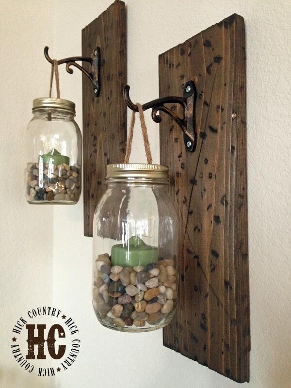 Rustic DIY Mason Jar Wall Lanterns
