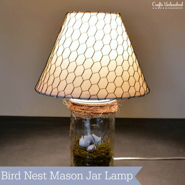 Bird Nest Mason Jar DIY Lamp