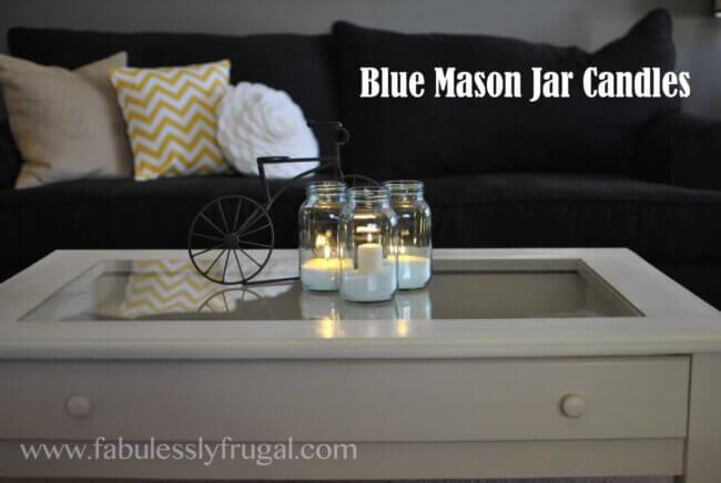 DIY Blue Mason Jars Candles