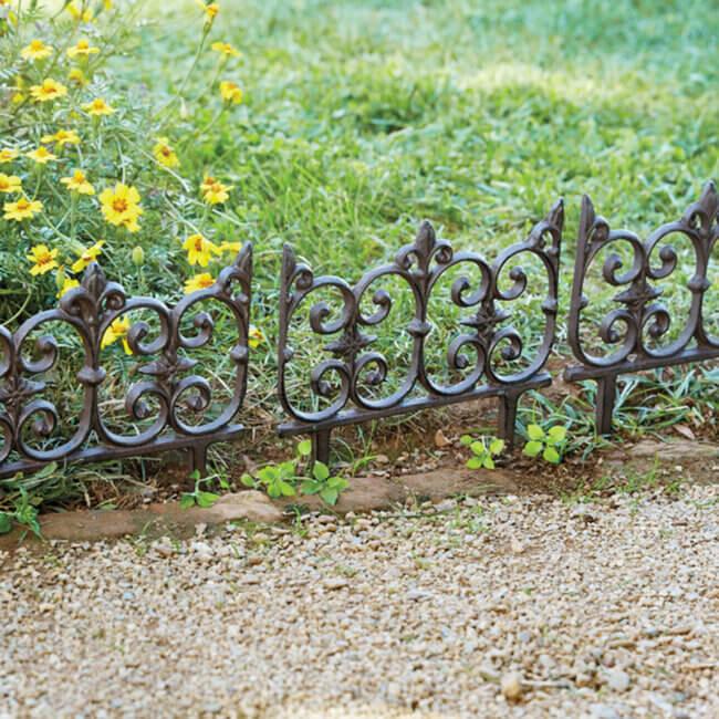 Fleur-de-lis Cast Iron Garden Fence